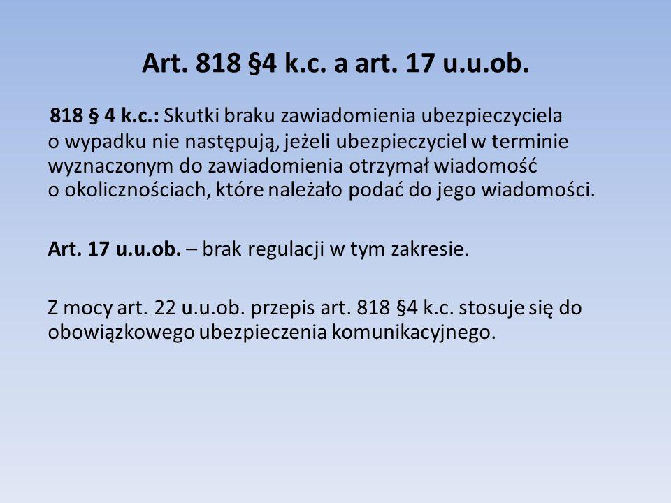 Art. 818 §4 k.c. a art. 17 u.u.ob.