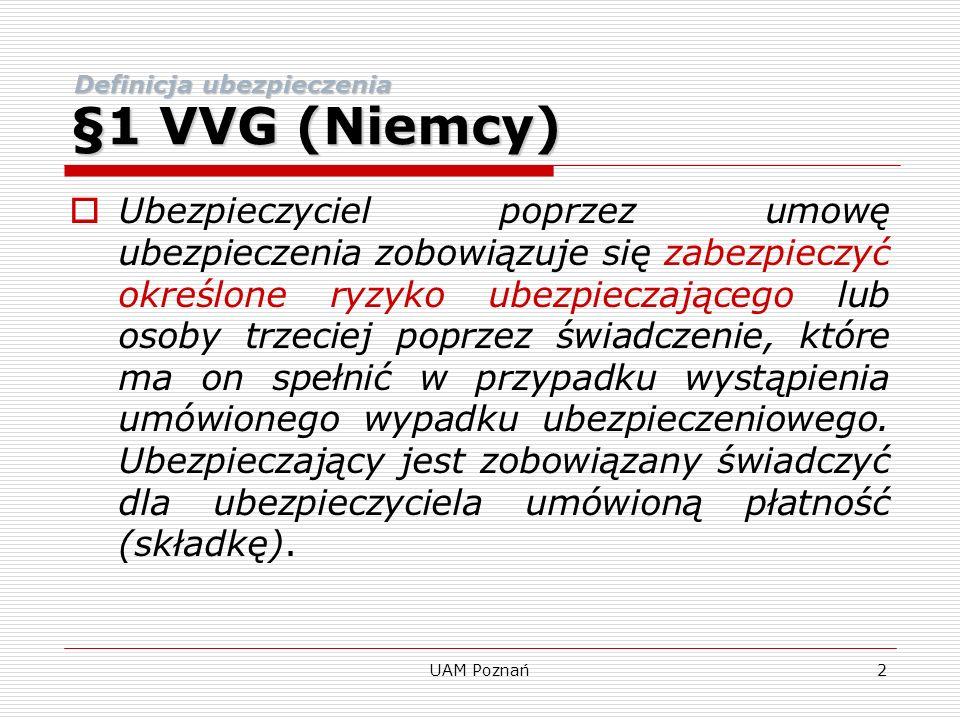 §1 VVG (Niemcy) Definicja ubezpieczenia.