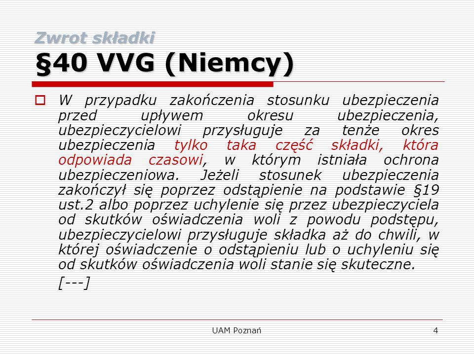 Zwrot składki §40 VVG (Niemcy)