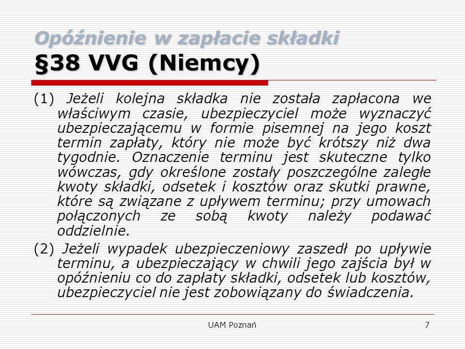 Opóźnienie w zapłacie składki §38 VVG (Niemcy)