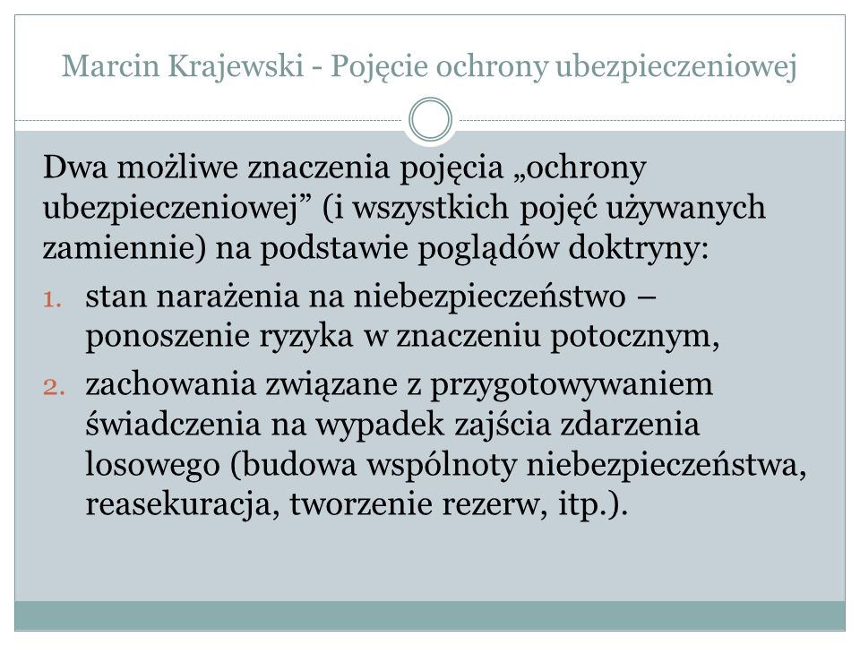 Marcin Krajewski - Pojęcie ochrony ubezpieczeniowej
