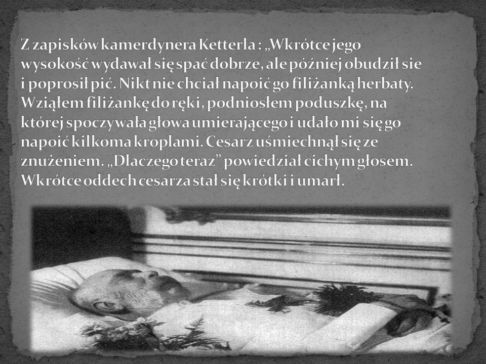 """Z zapisków kamerdynera Ketterla : """"Wkrótce jego wysokość wydawał się spać dobrze, ale później obudził sie i poprosił pić."""
