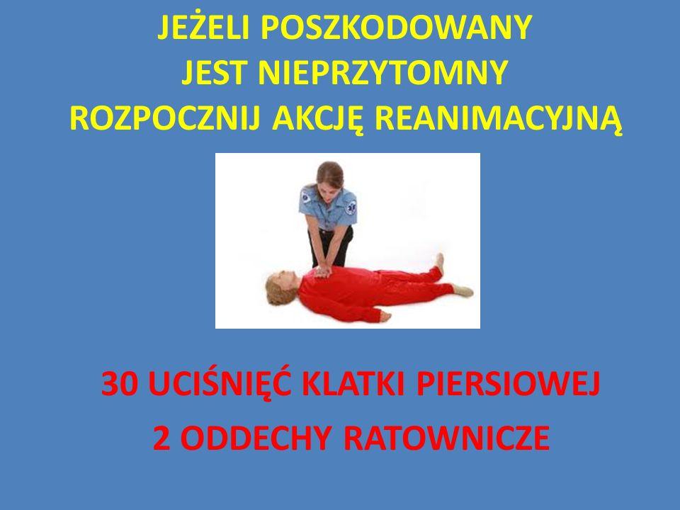 Jeżeli poszkodowany jest nieprzytomny Rozpocznij akcję reanimacyjną
