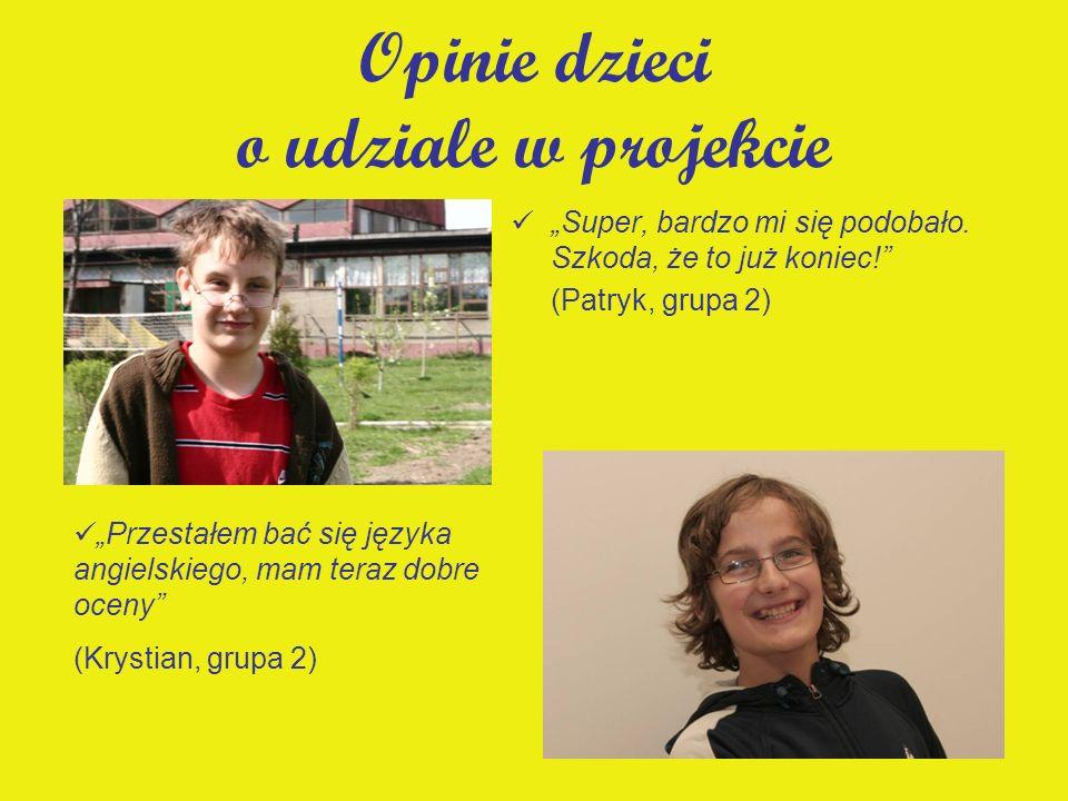 Opinie dzieci o udziale w projekcie