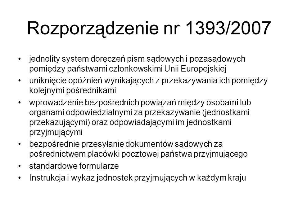 Rozporządzenie nr 1393/2007 jednolity system doręczeń pism sądowych i pozasądowych pomiędzy państwami członkowskimi Unii Europejskiej.
