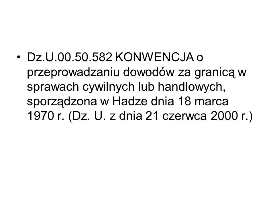 Dz.U.00.50.582 KONWENCJA o przeprowadzaniu dowodów za granicą w sprawach cywilnych lub handlowych, sporządzona w Hadze dnia 18 marca 1970 r.