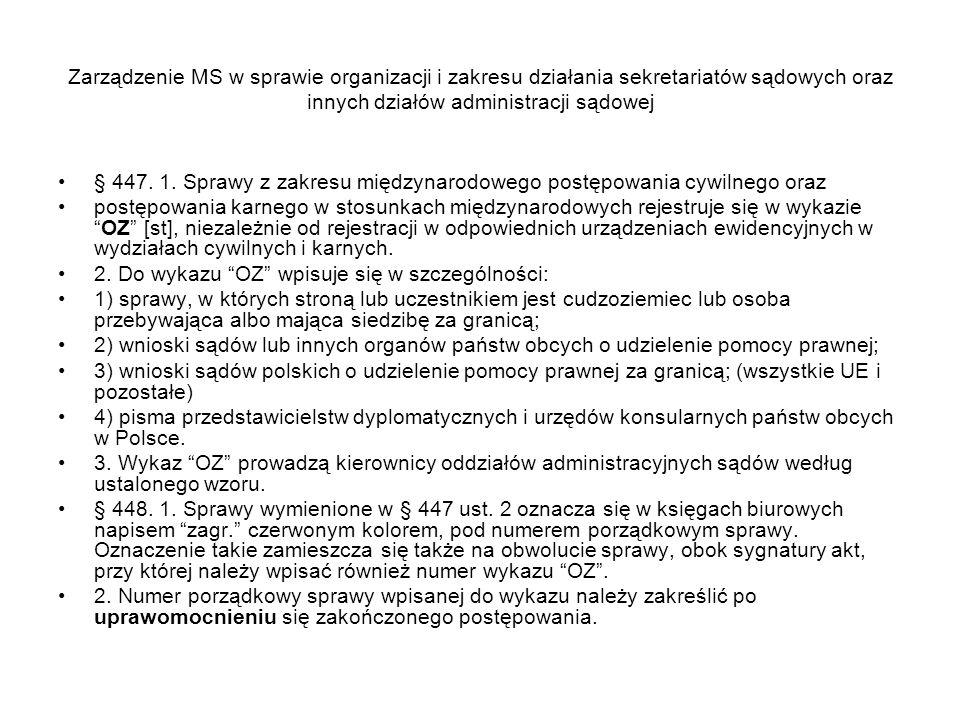 Zarządzenie MS w sprawie organizacji i zakresu działania sekretariatów sądowych oraz innych działów administracji sądowej