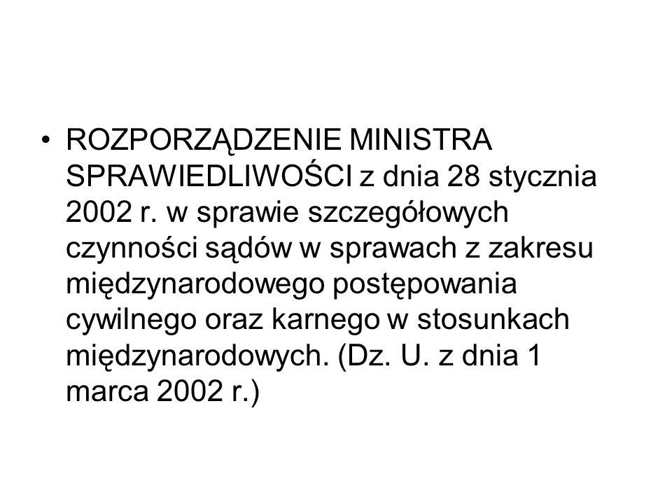 ROZPORZĄDZENIE MINISTRA SPRAWIEDLIWOŚCI z dnia 28 stycznia 2002 r