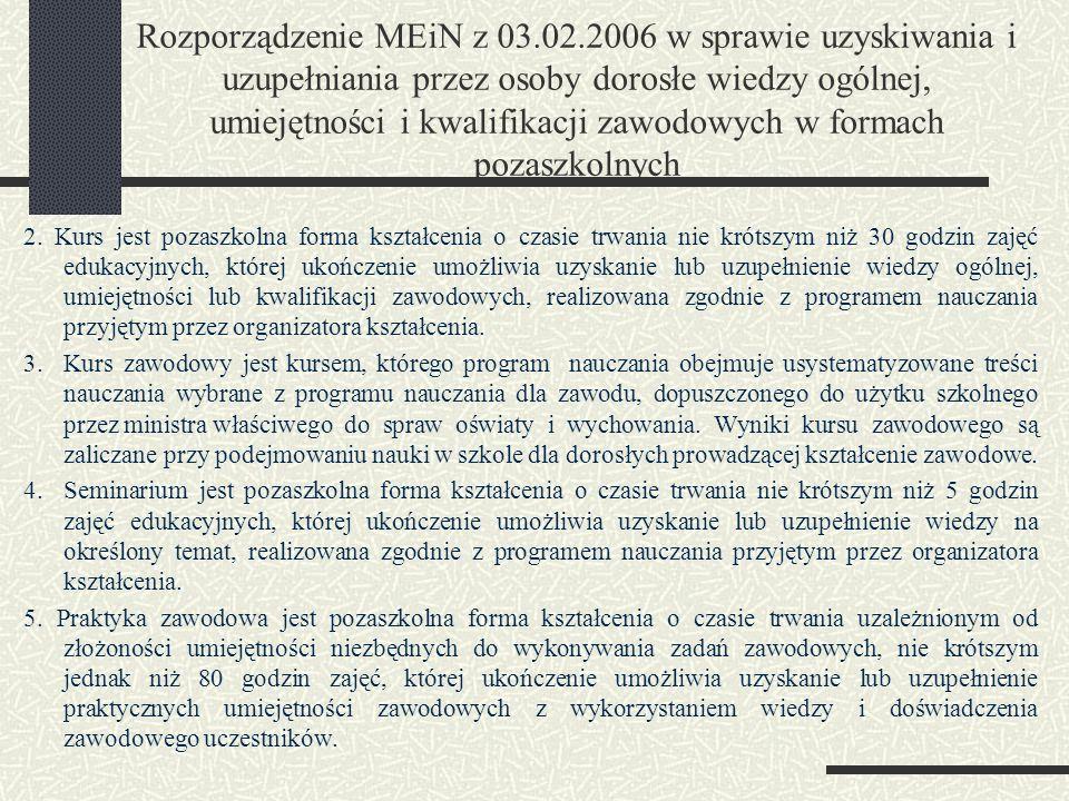 Rozporządzenie MEiN z 03.02.2006 w sprawie uzyskiwania i uzupełniania przez osoby dorosłe wiedzy ogólnej, umiejętności i kwalifikacji zawodowych w formach pozaszkolnych