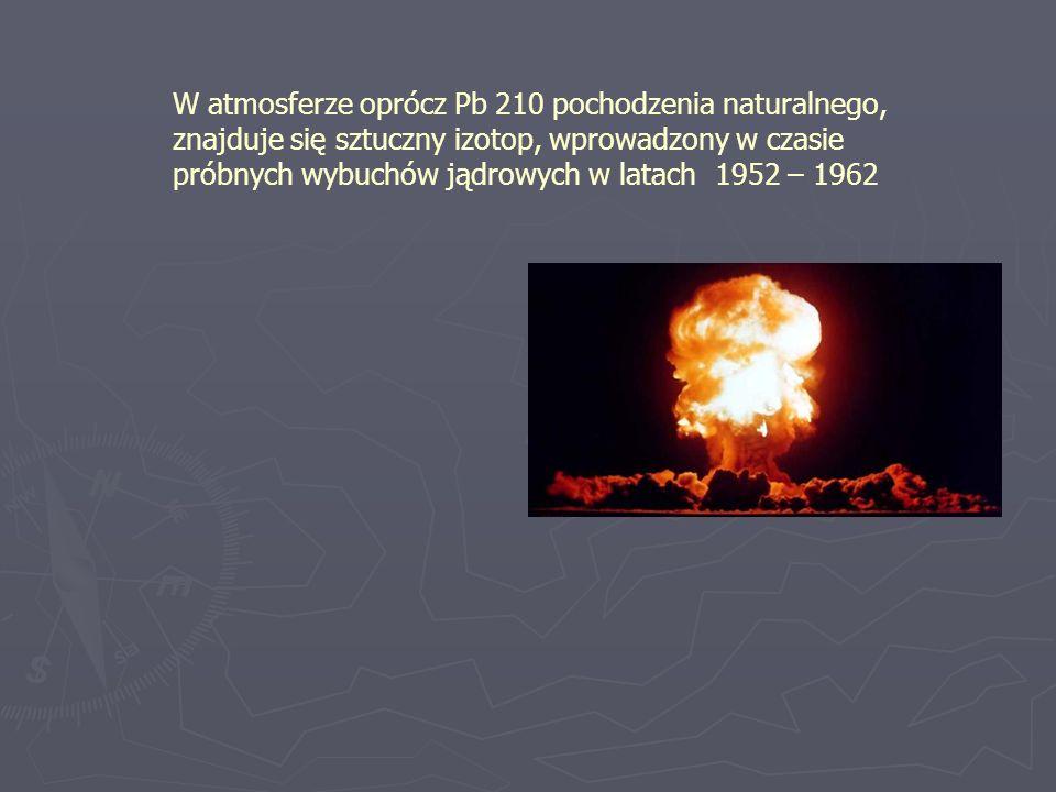 W atmosferze oprócz Pb 210 pochodzenia naturalnego, znajduje się sztuczny izotop, wprowadzony w czasie próbnych wybuchów jądrowych w latach 1952 – 1962
