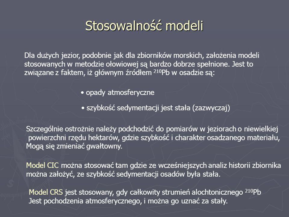 Stosowalność modeli Dla dużych jezior, podobnie jak dla zbiorników morskich, założenia modeli.