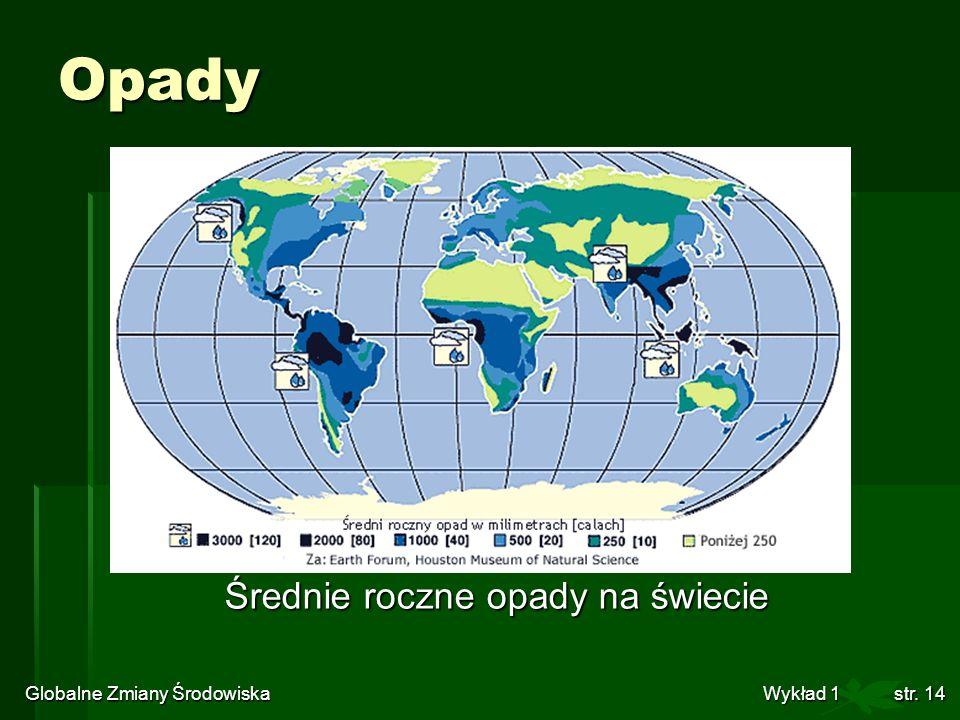 Opady Średnie roczne opady na świecie
