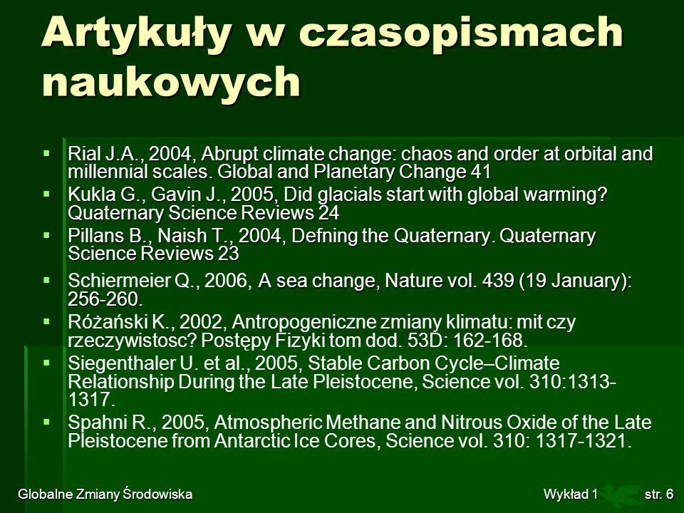 Artykuły w czasopismach naukowych