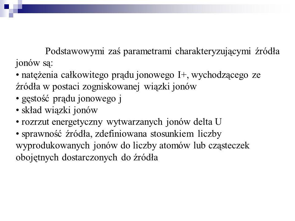 Podstawowymi zaś parametrami charakteryzującymi źródła jonów są: