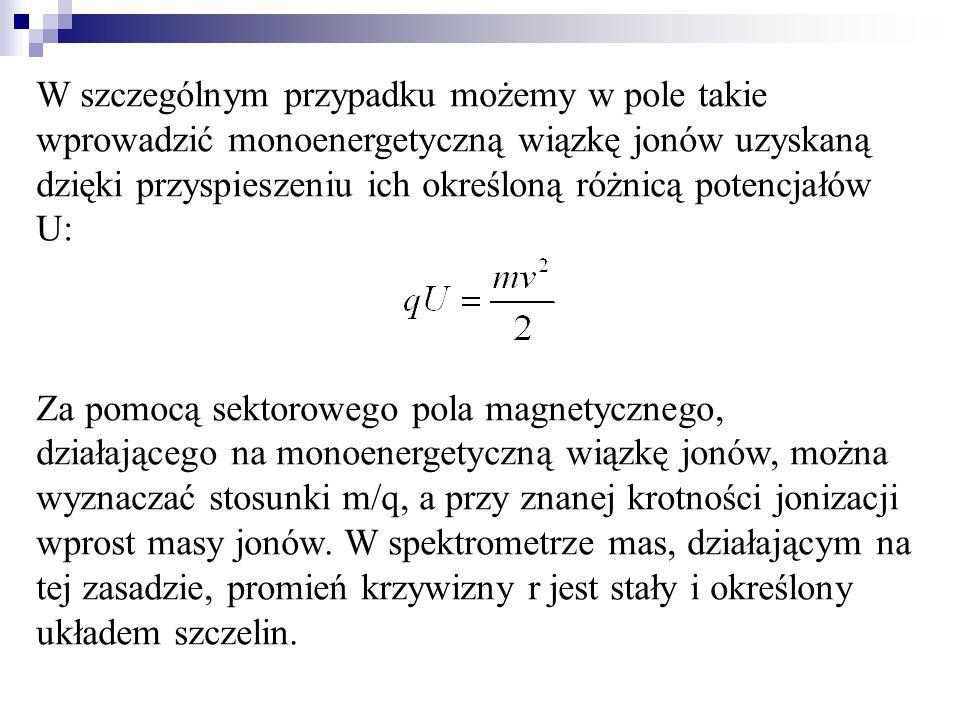 W szczególnym przypadku możemy w pole takie wprowadzić monoenergetyczną wiązkę jonów uzyskaną dzięki przyspieszeniu ich określoną różnicą potencjałów U: