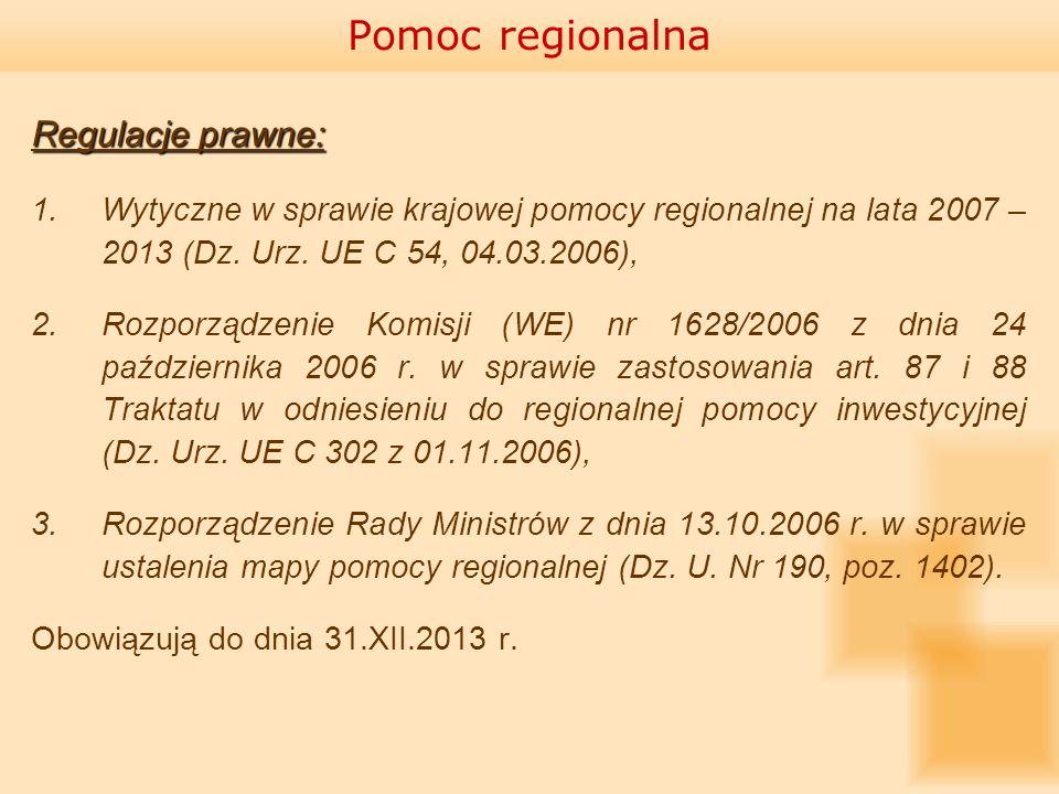 Pomoc regionalna Regulacje prawne: