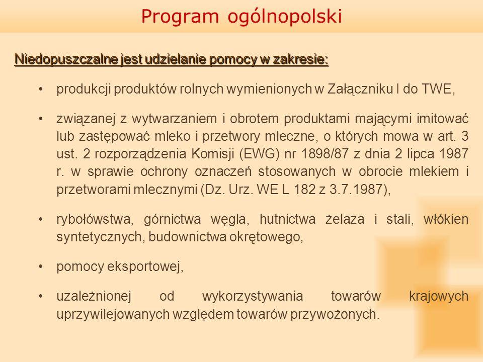 Program ogólnopolski Niedopuszczalne jest udzielanie pomocy w zakresie: produkcji produktów rolnych wymienionych w Załączniku I do TWE,