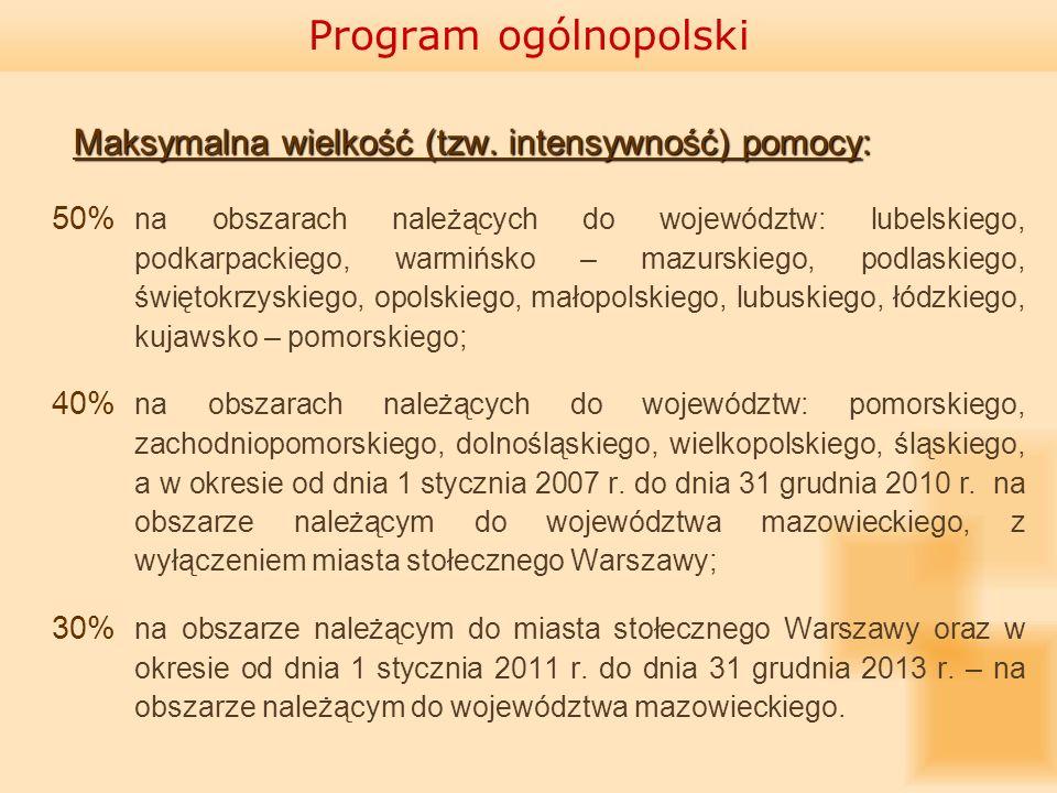 Program ogólnopolski Maksymalna wielkość (tzw. intensywność) pomocy: