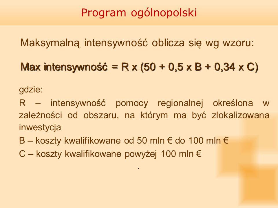 Max intensywność = R x (50 + 0,5 x B + 0,34 x C)