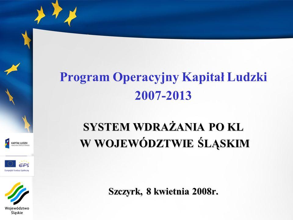 Program Operacyjny Kapitał Ludzki W WOJEWÓDZTWIE ŚLĄSKIM