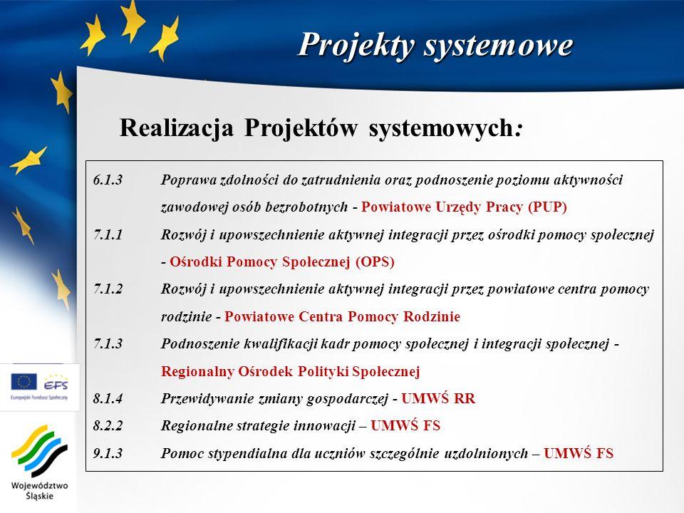Projekty systemowe Realizacja Projektów systemowych: