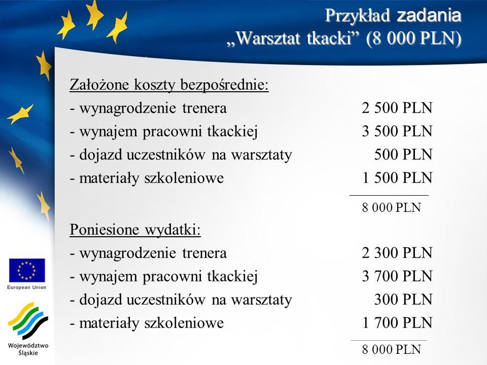 """Przykład zadania """"Warsztat tkacki (8 000 PLN)"""