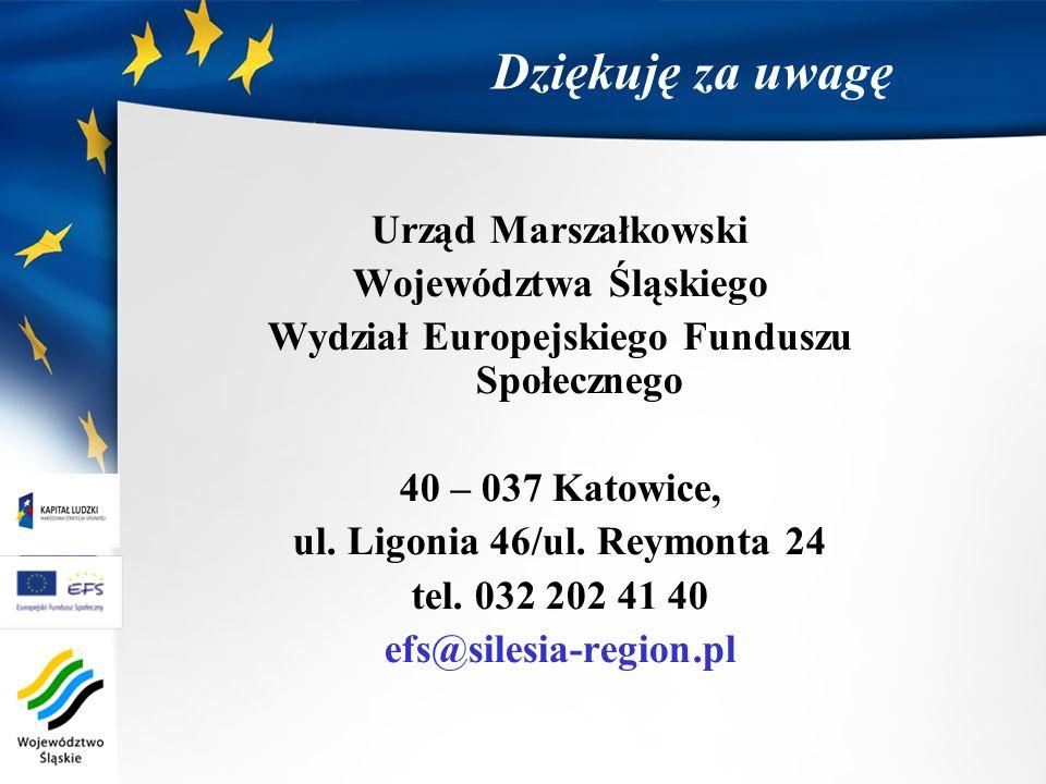 Dziękuję za uwagę Urząd Marszałkowski Województwa Śląskiego