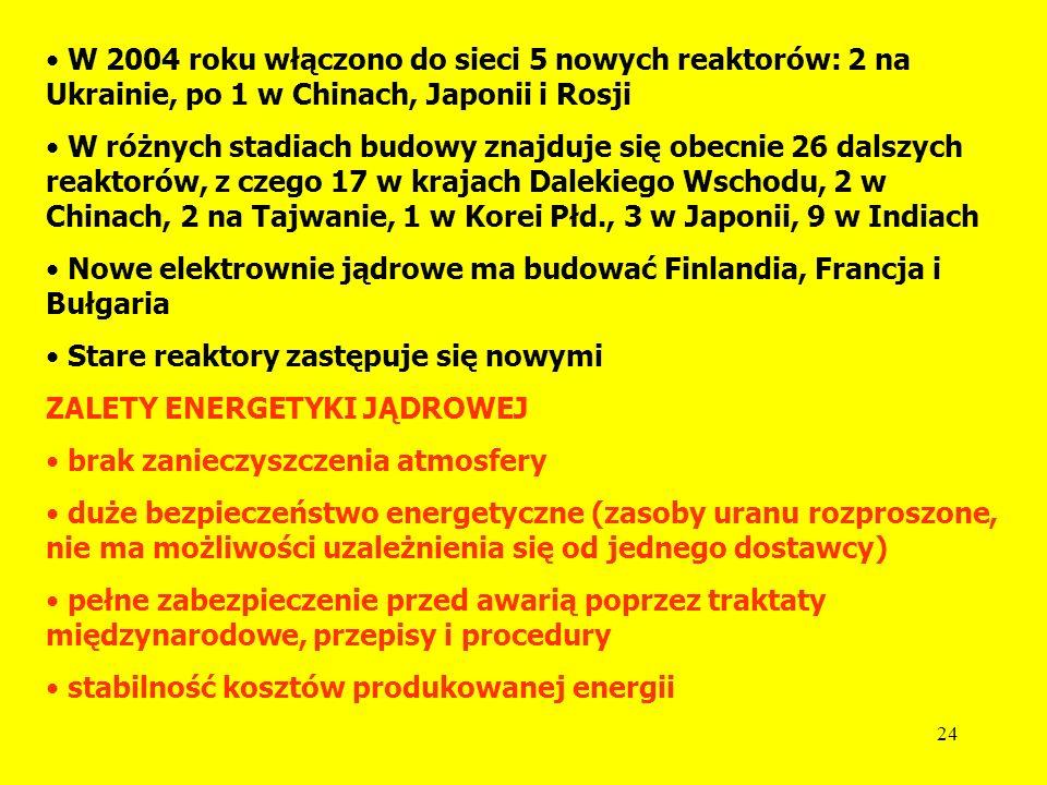 W 2004 roku włączono do sieci 5 nowych reaktorów: 2 na Ukrainie, po 1 w Chinach, Japonii i Rosji