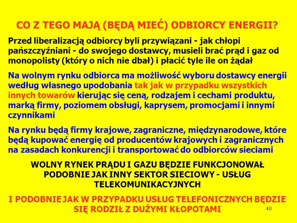 CO Z TEGO MAJĄ (BĘDĄ MIEĆ) ODBIORCY ENERGII