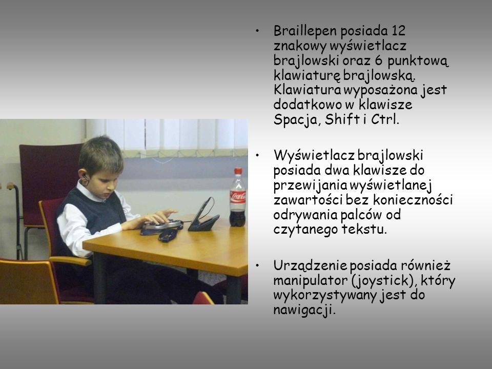 Braillepen posiada 12 znakowy wyświetlacz brajlowski oraz 6 punktową klawiaturę brajlowską. Klawiatura wyposażona jest dodatkowo w klawisze Spacja, Shift i Ctrl.
