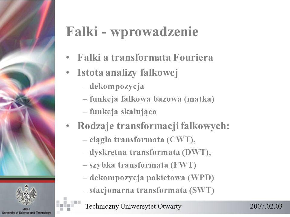 Falki - wprowadzenie Falki a transformata Fouriera
