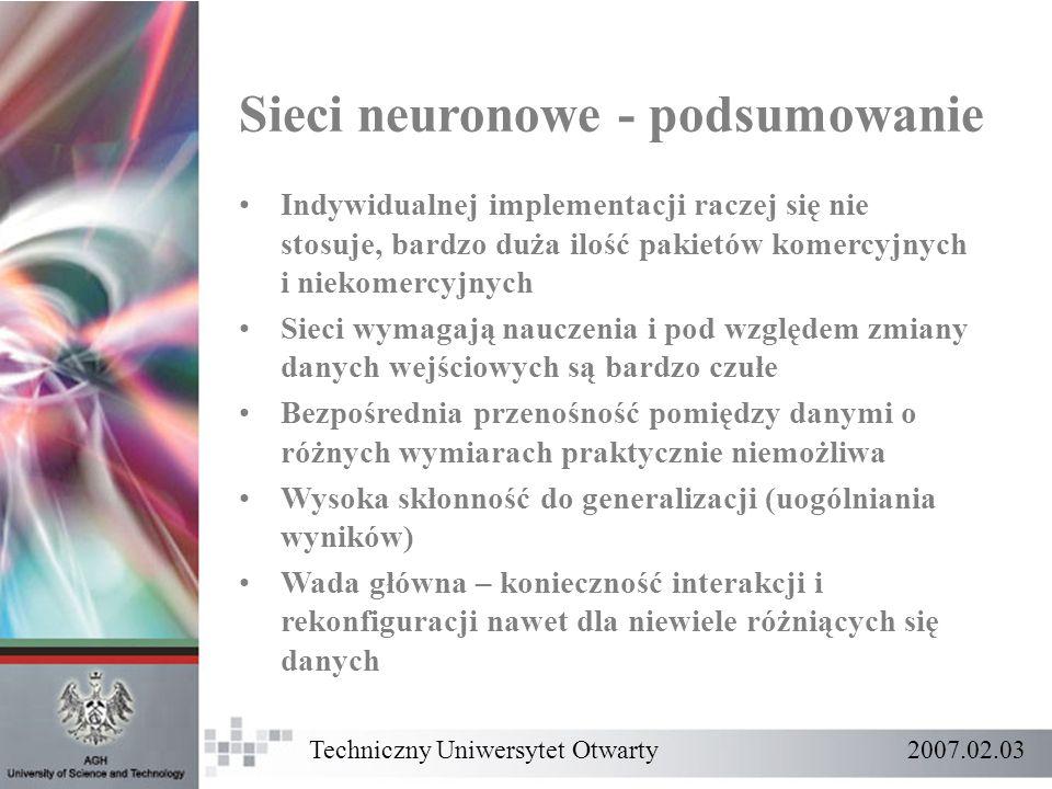 Sieci neuronowe - podsumowanie