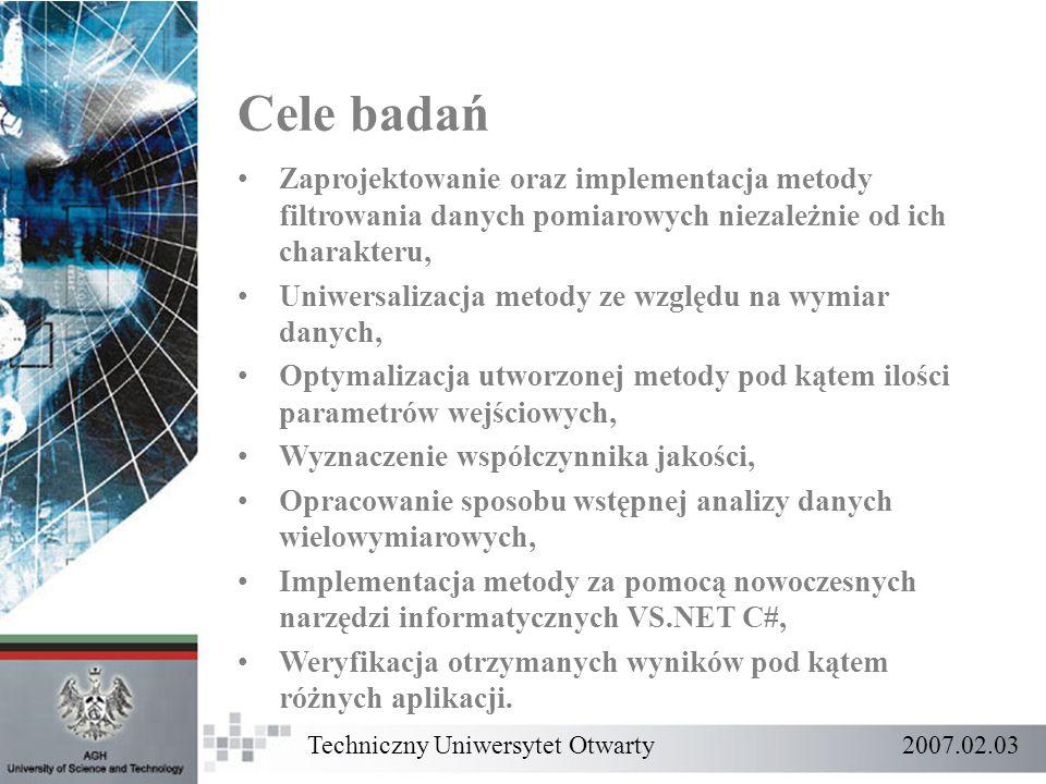 Cele badań Zaprojektowanie oraz implementacja metody filtrowania danych pomiarowych niezależnie od ich charakteru,