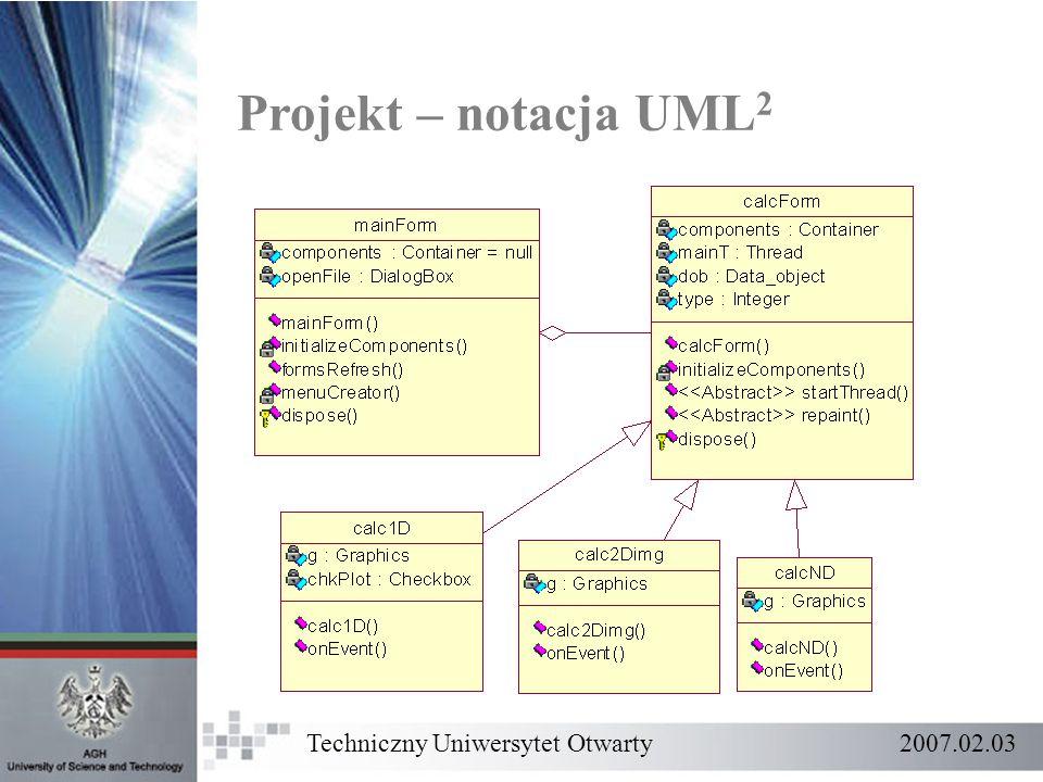 Projekt – notacja UML2 Techniczny Uniwersytet Otwarty 2007.02.03