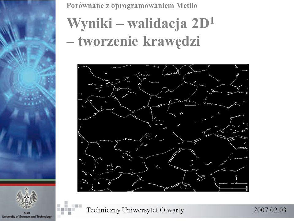 Wyniki – walidacja 2D1 – tworzenie krawędzi