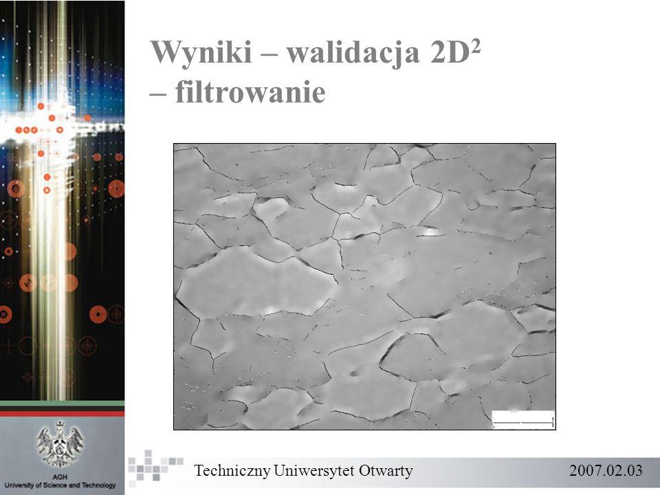 Wyniki – walidacja 2D2 – filtrowanie