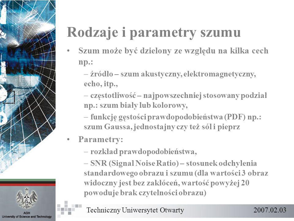 Rodzaje i parametry szumu