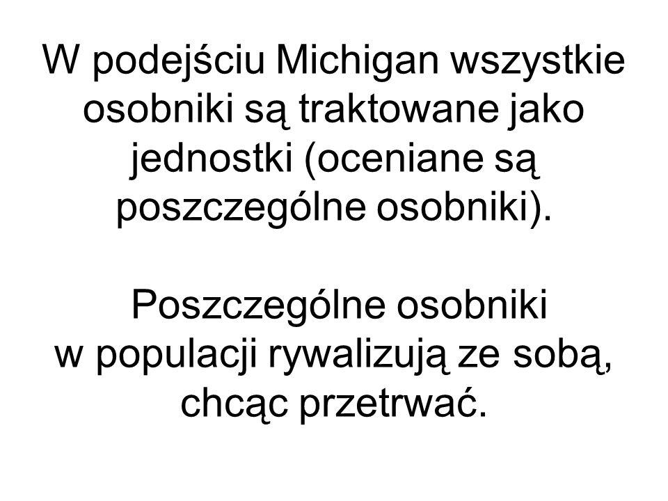 W podejściu Michigan wszystkie osobniki są traktowane jako jednostki (oceniane są poszczególne osobniki).