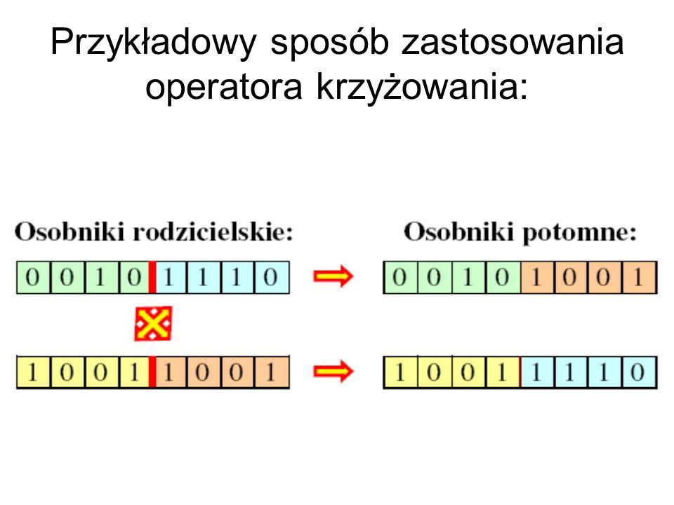 Przykładowy sposób zastosowania operatora krzyżowania: