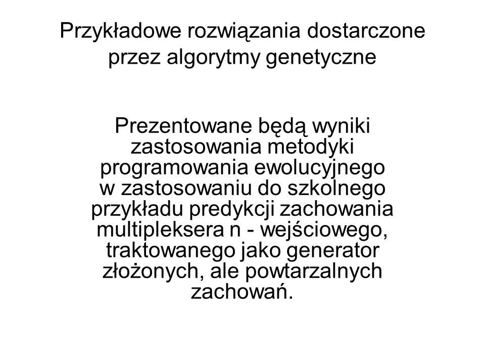 Przykładowe rozwiązania dostarczone przez algorytmy genetyczne