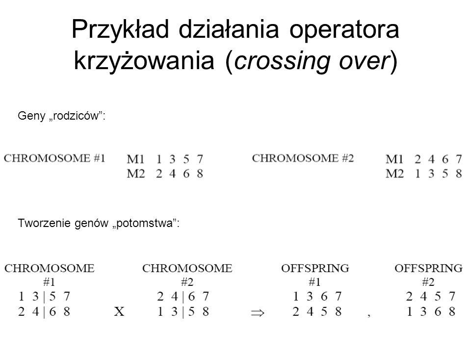 Przykład działania operatora krzyżowania (crossing over)