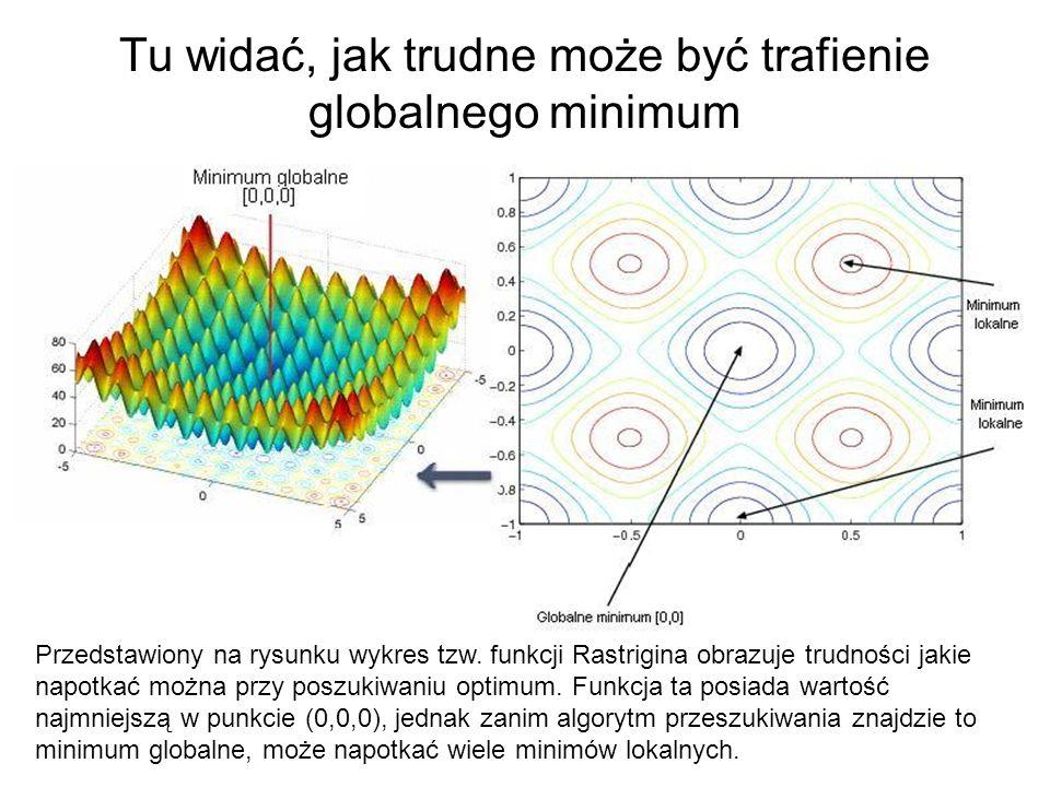Tu widać, jak trudne może być trafienie globalnego minimum