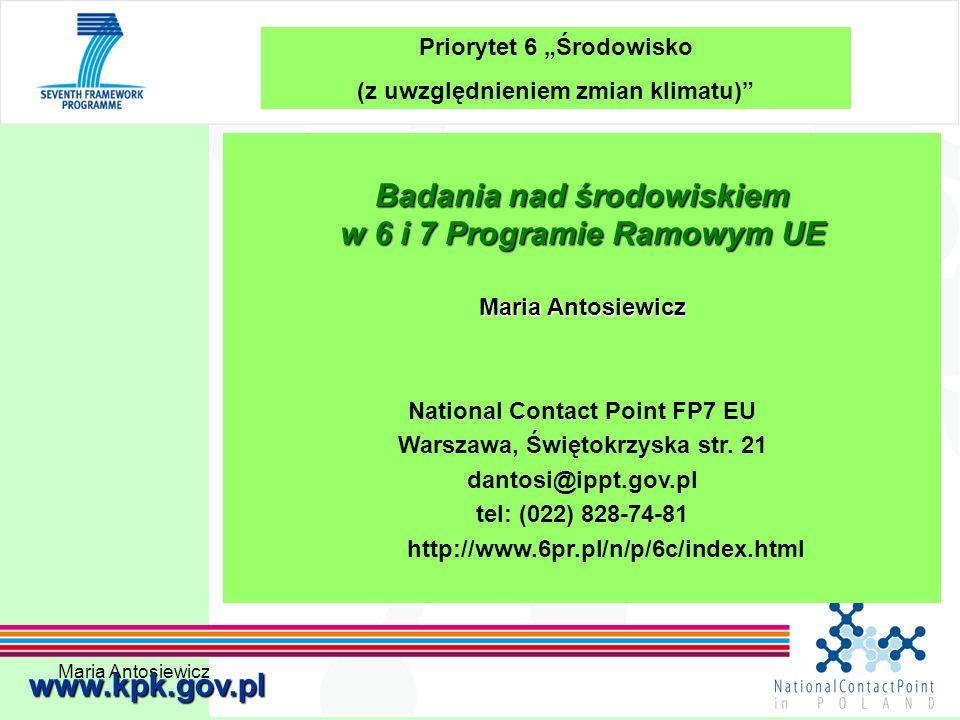Badania nad środowiskiem w 6 i 7 Programie Ramowym UE