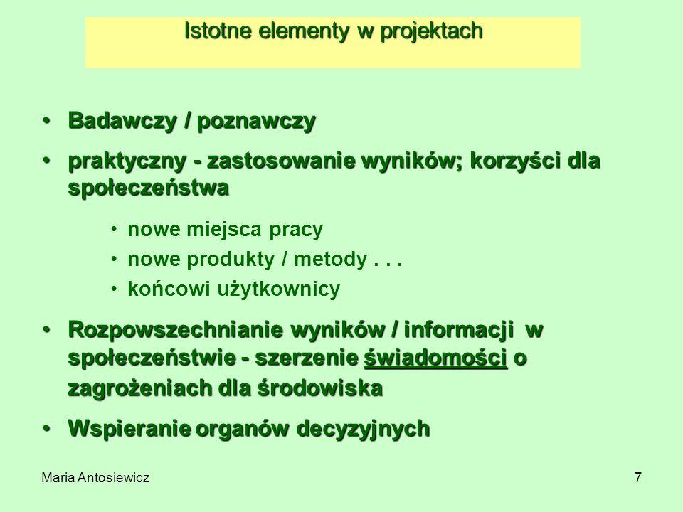 Istotne elementy w projektach