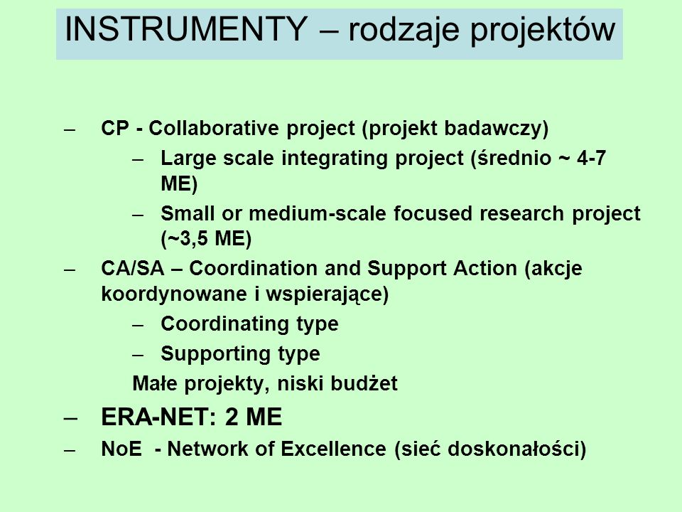 INSTRUMENTY – rodzaje projektów
