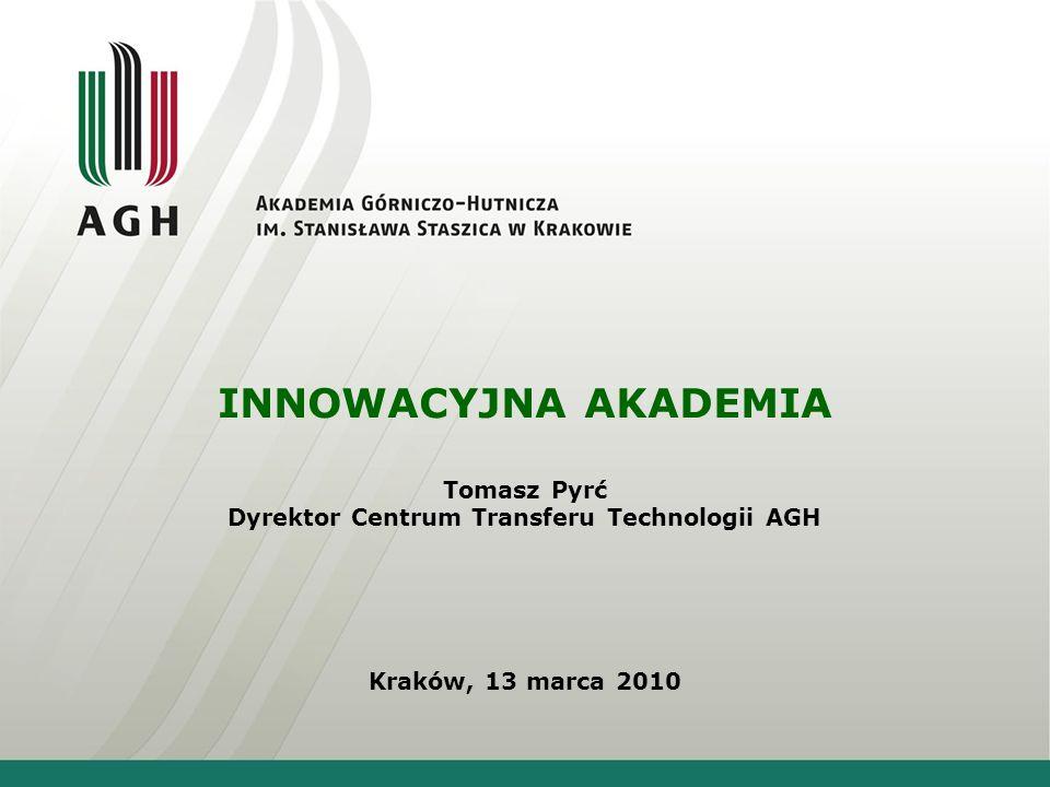 INNOWACYJNA AKADEMIA Tomasz Pyrć Dyrektor Centrum Transferu Technologii AGH