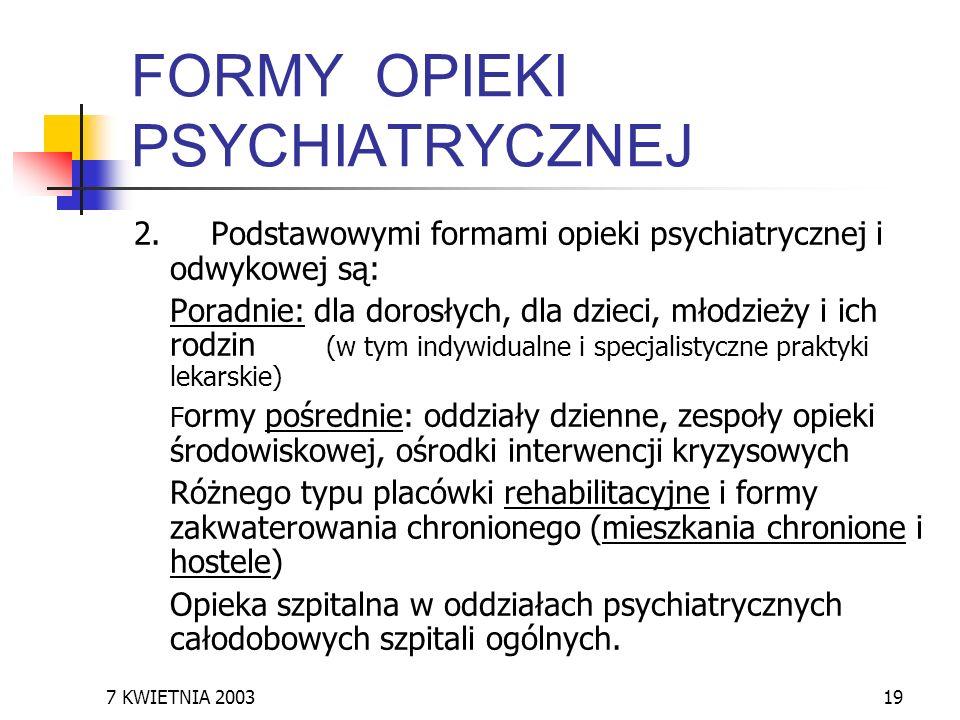 FORMY OPIEKI PSYCHIATRYCZNEJ