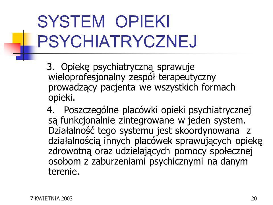 SYSTEM OPIEKI PSYCHIATRYCZNEJ
