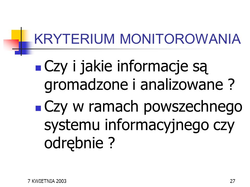 KRYTERIUM MONITOROWANIA