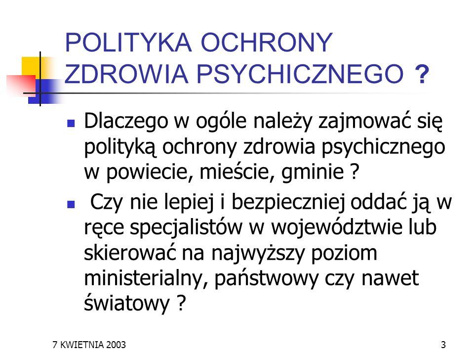 POLITYKA OCHRONY ZDROWIA PSYCHICZNEGO